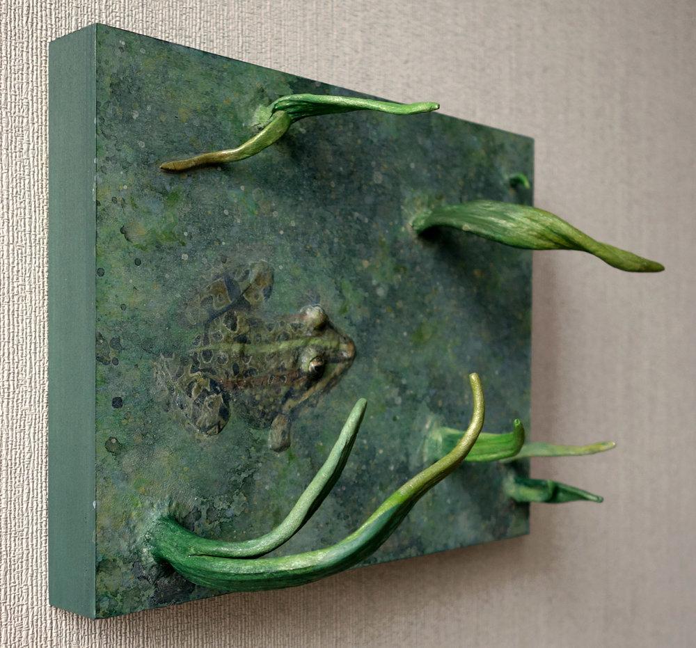 The Slightest Disturbance - QuickCure Clay, acrylic, and gloss varnish on birch panel, 6x8x4