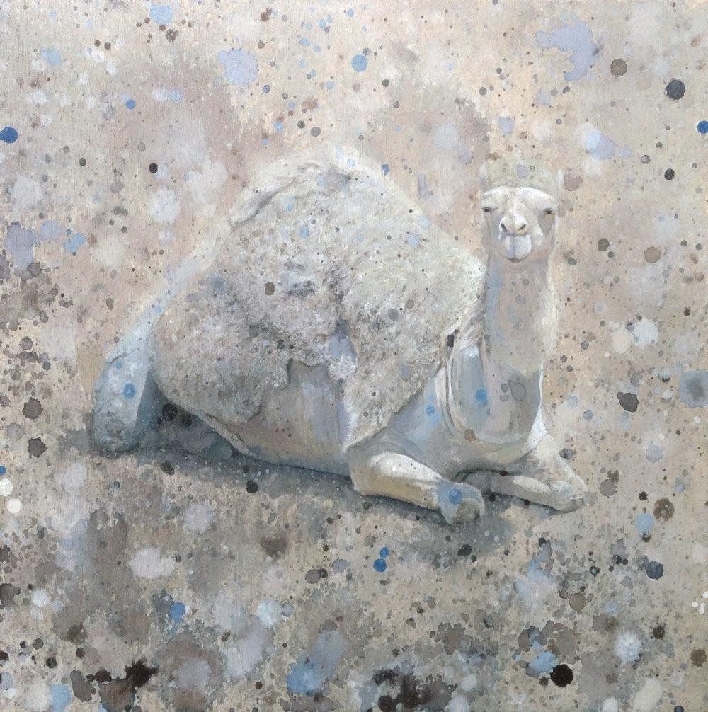 "Camelflage - Acrylic on basswood panel, 12x12x1.5"", 2018"