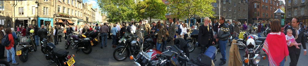 The Distinguished Gentleman's Bike Ride     We took part in this years bike ride raising money for Prostate Cancer, dressed as a distinguished gentleman and riding a Norton Commando 850.  The Scottish rides have raised over £14600.  Luckie Beans managed to raise £100 toward this good cause.  Thanks to all who sponsored us.