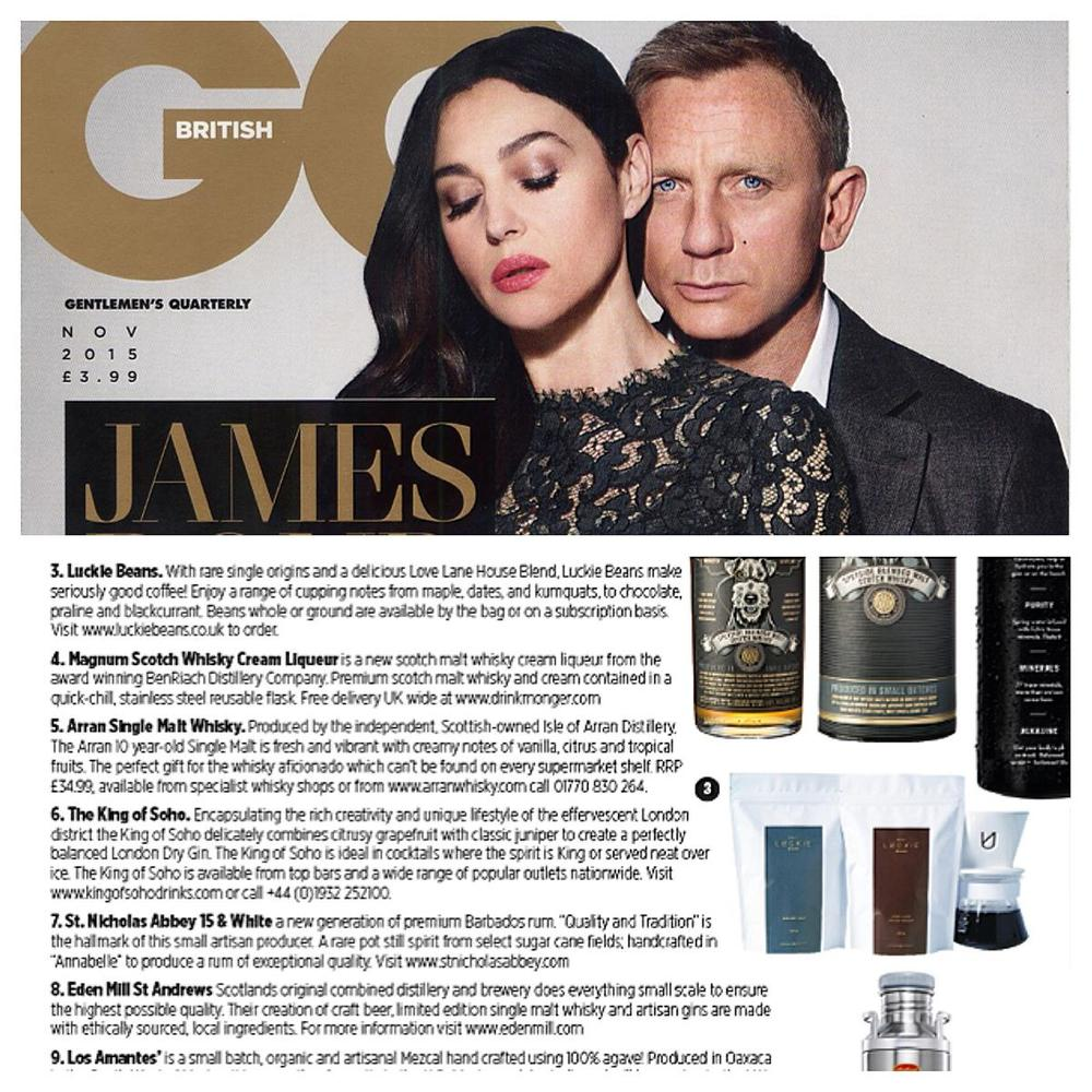 First time in GQ   GQ have been showcasing Luckie Beans!  We're looking forward to viewing the new Bond film Spectre.  What about you?
