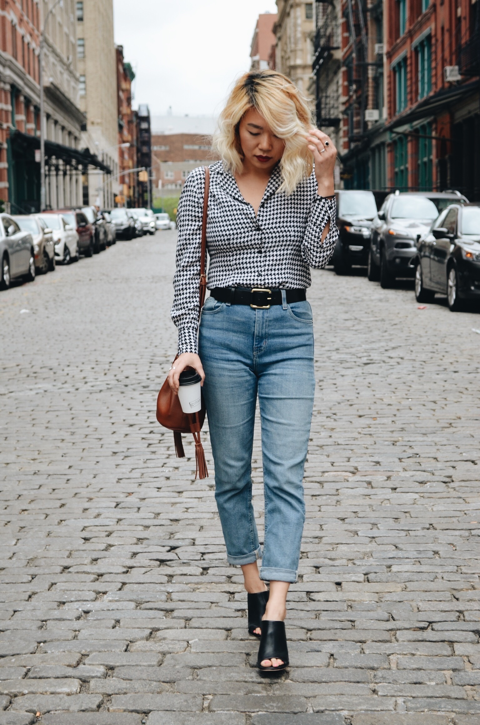 gingham shirt + jeans