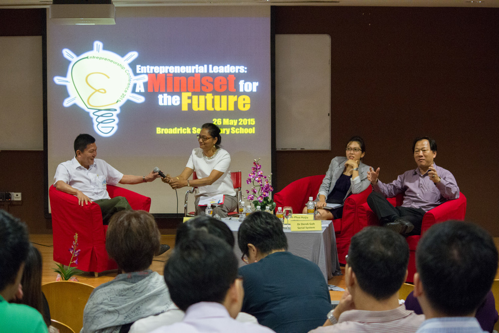 Mr Kenny Yap, Ms Phua Huijia, and Mr Derrick Goh, in a panel dialogue with educators from various secondary and primary schools.