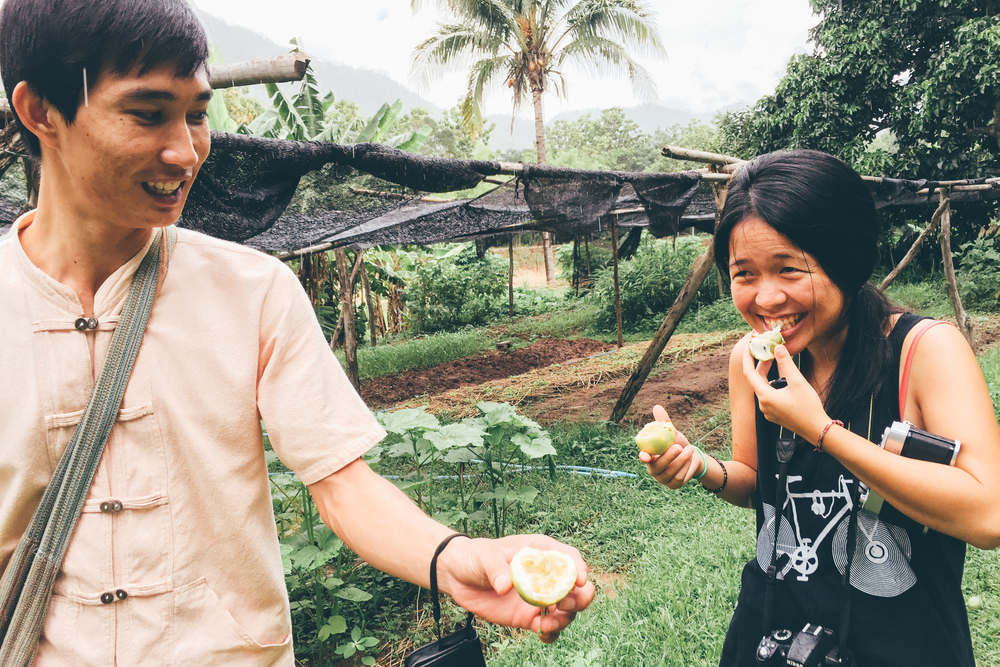 Yeehui enjoying her first taste of a fresh passionfruit at the Mae Tha Farm