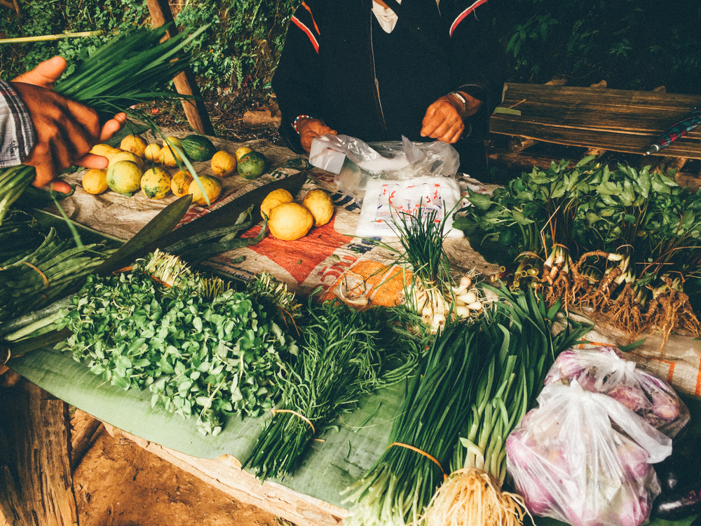 Fresh produce sold at a village market