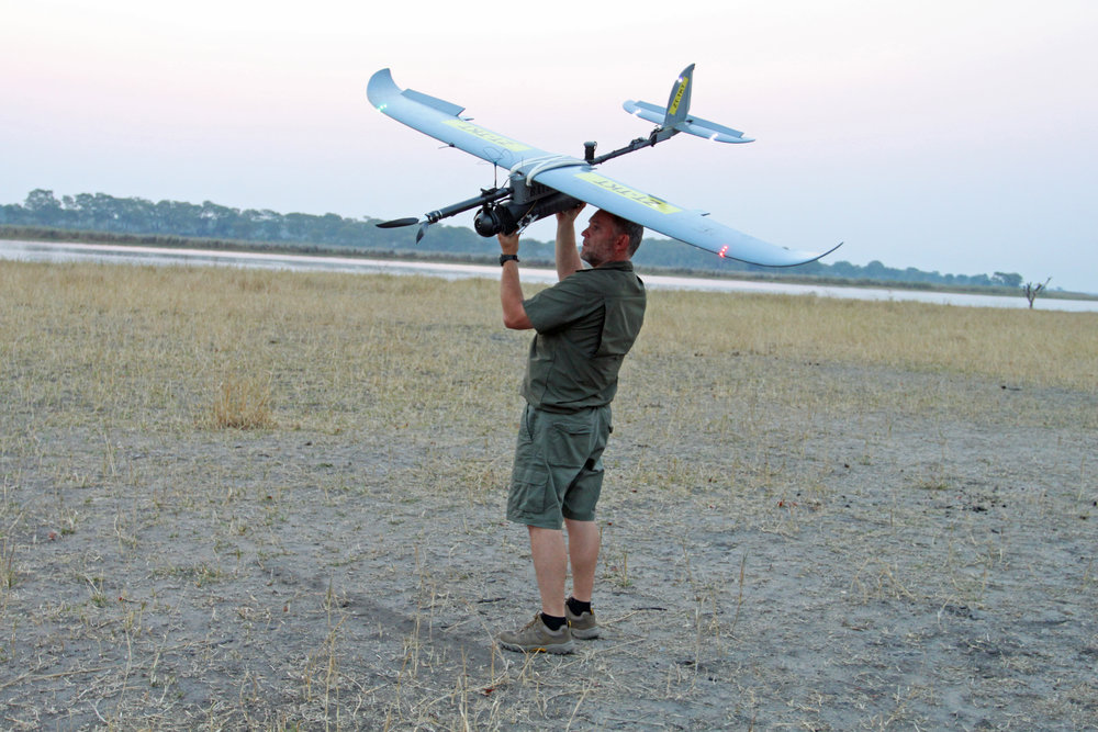 Stephan De Necker and the UDS BatHawk drone.