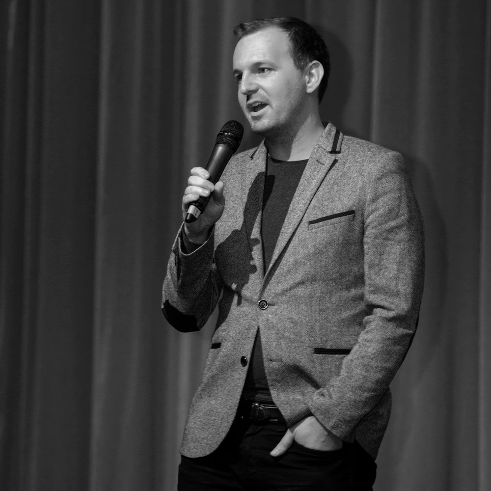 Flotsam director Michael Beddoes addresses audience members from the BAFTA stage