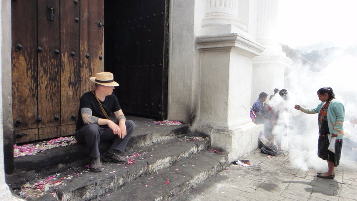 Guatemala 2011, locally harvested copal resin being burned outside a church.