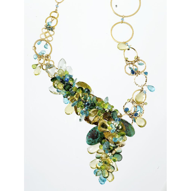 Nature is the source of Andrea Li's inspiration. The fluid forms of her designs effortlessly capture the brilliant color palette and rich textures found in the earth's most beautiful gemstones. This results in an alchemical blend of polished brilliance and raw strength.      Summer Fields Necklace by Andrea Li  $7,898.00 | One of a Kind      >Shop Item