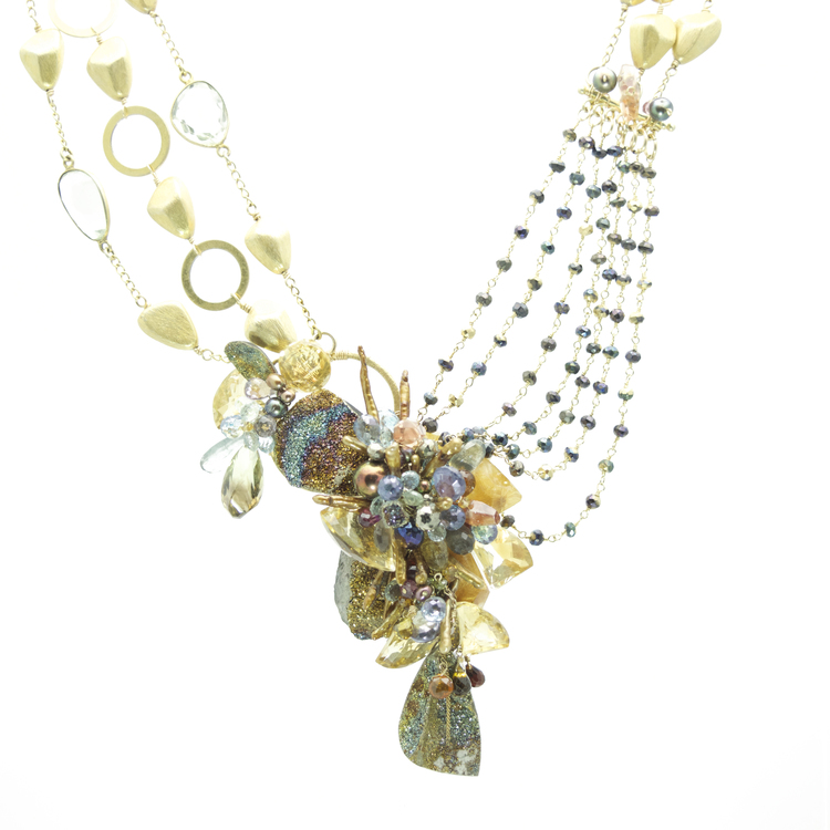 Looking toward the natural forms of biology, geology and human psychology, Andrea's goal is to create a work of wearable art that resonates deeply with the women who would wear it.      Fireworks Necklace by Andrea Li  $3,858.00 | One of a Kind      >Shop Item