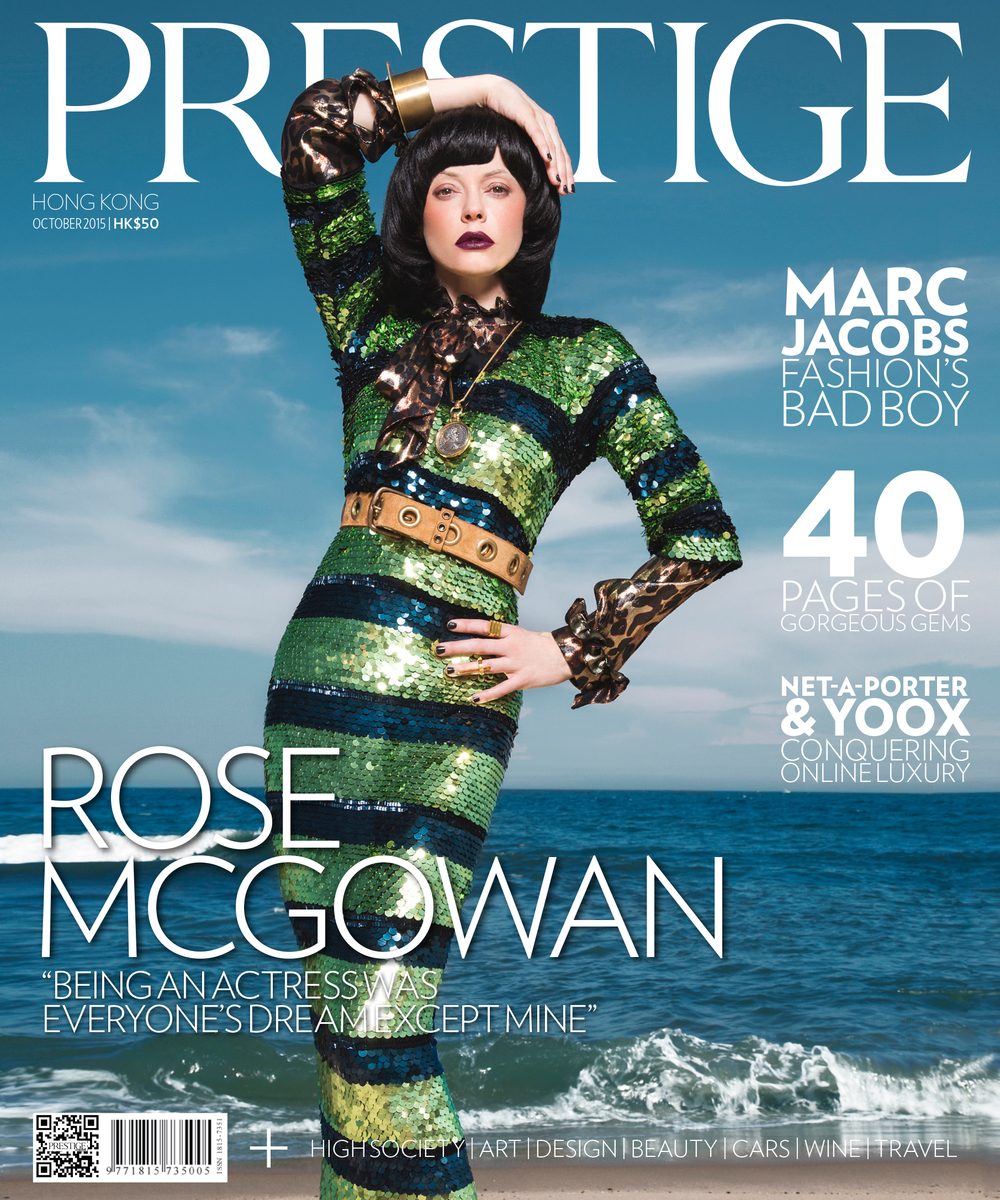 ROSE MCGOWAN FOR PRESTIGE HK  Pure-A2-SSG Bracelet by Muyombano   cover star  Rose McGowan /  styling  Cannon /  photography  Mike Ruiz