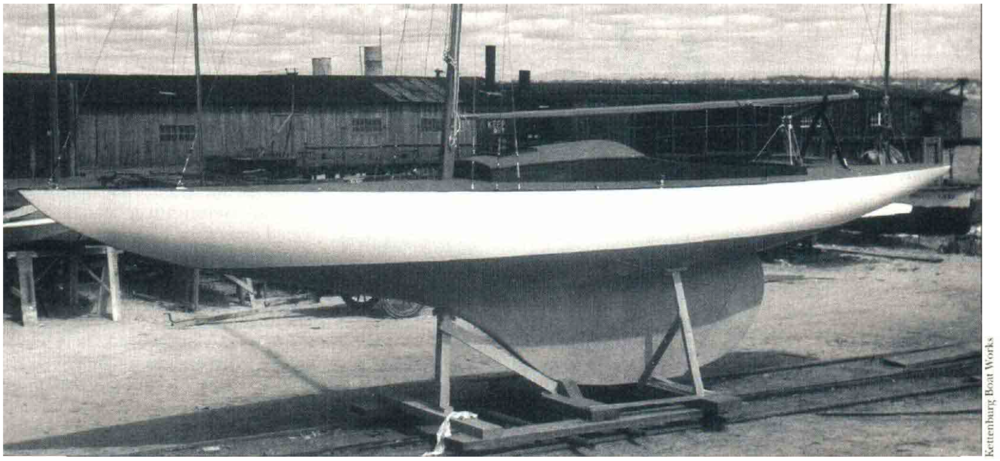 It's easy to see how the sleek shape of the Kettenburg PC hull was as successful as a racing yacht as it was beautiful.