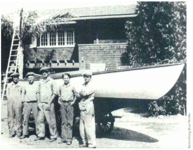 George Kettenburg Jr. (center) and his younger brother Paul (Second from right) in front of an Alden sloop