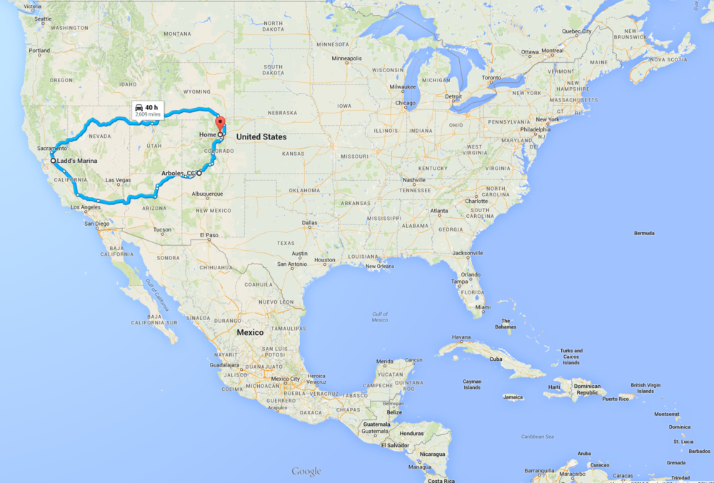 Some perspective of the trip compared to the size of the US