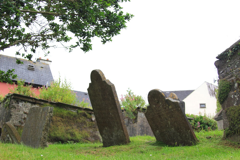 Old gravestones at St. Multose Church, Ireland