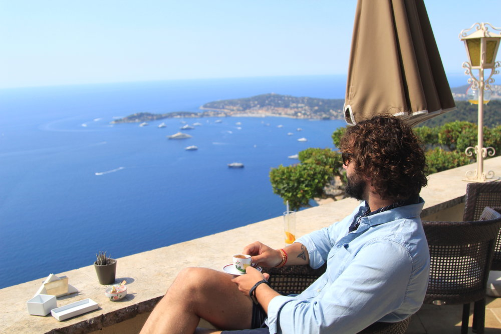 Enjoying un cafe at the Chevre D'Or in Eze, France