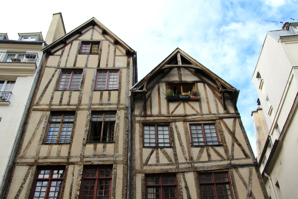 The oldest residential buildings in Paris, located in the Marais district