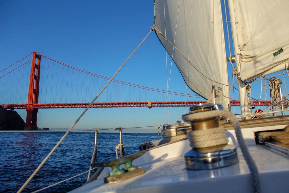 sailing under the golden gate bridge