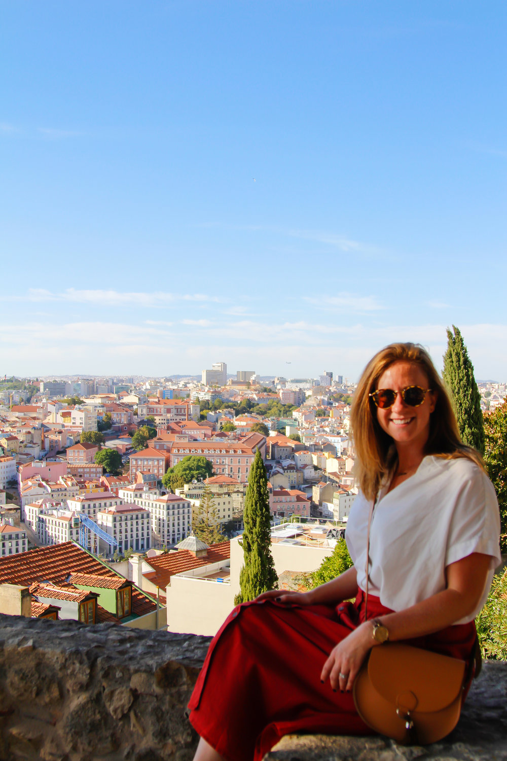 On top of Lisbon! (skirt and top from Madewell, bag from Cambridge Satchel Company)