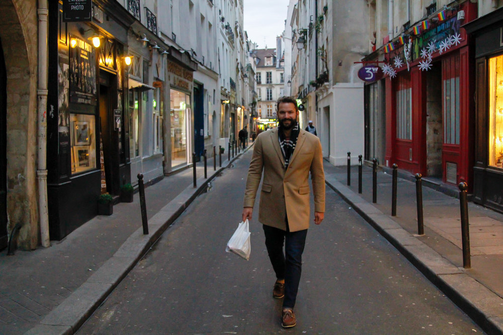 Strolling through the Marais neighborhood in Paris