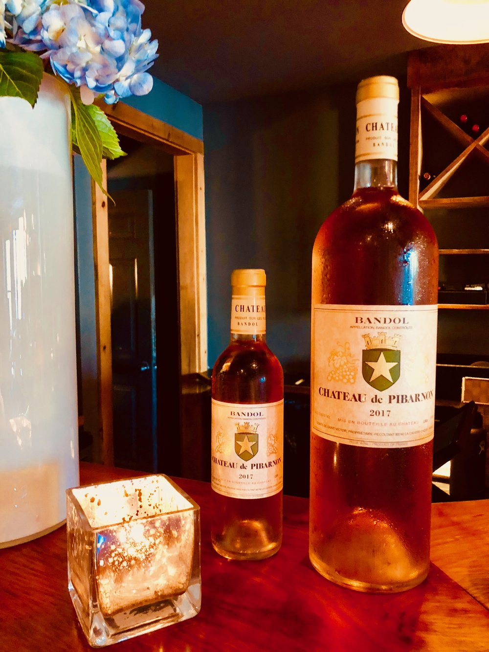 New to our menu, a sensational premium rosé of Cinsault and Mourvèdre, Château de Pibarnon, from Provence's  Bandol  region, is lush and creamy with strong notes of strawberry.  Available in half bottles and magnums while supplies last.