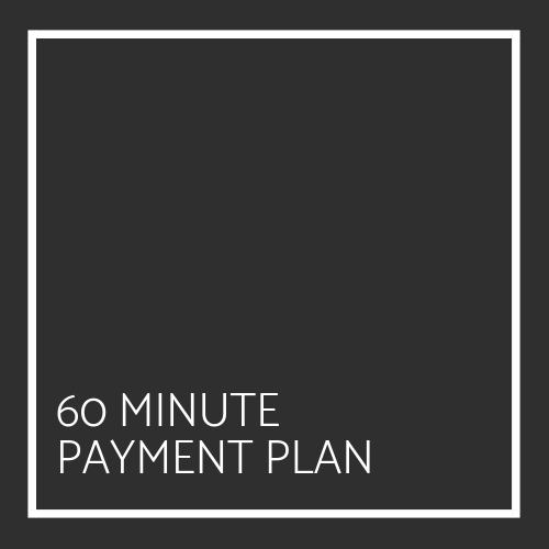 60 Minute Payment Plan - $300This package is for a total of eighteen 60 minute sessions to be used within a six month time period. Upon initial payment you agree to reoccurring payments of $300 per month for a total of six months. You will have 3 Sessions per month that will automatically renew. These sessions do not carry over once the six months have expired. You are allowed one no-show or canceled appointment. Any no-shows or canceled appointments after will be considered fully used sessions and will not be waived. Your initial start up payment is fully refundable within a 30 day time period if you find that the services are unsatisfactory.