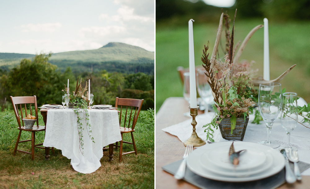 Outdoor wedding sweetheart table Berkshires