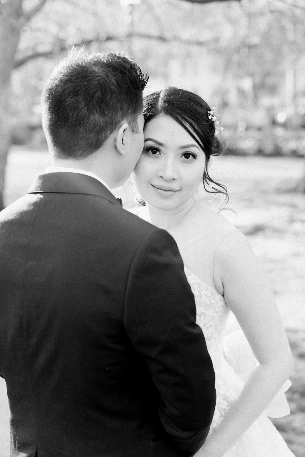 Bride and Groom Portraits at the Public Garden in Boston