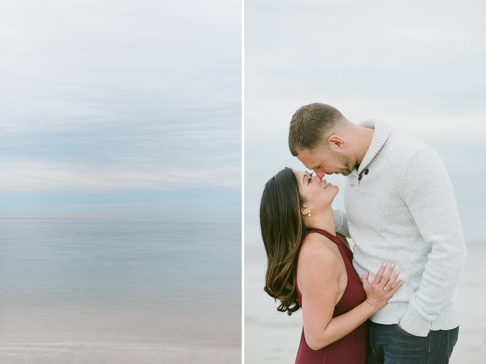 beach engagement session at Crane Beach
