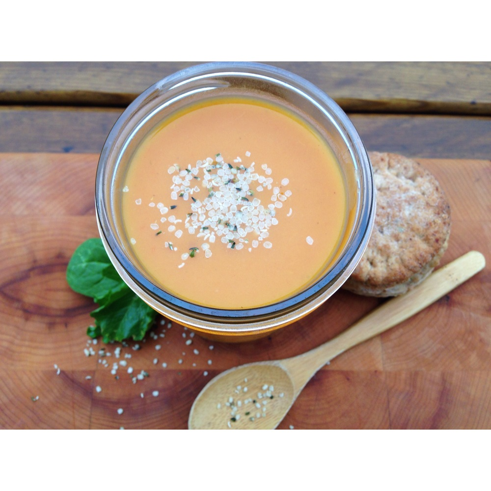 Sweet Potato Carrot Honey Soup with Herb Bisquit