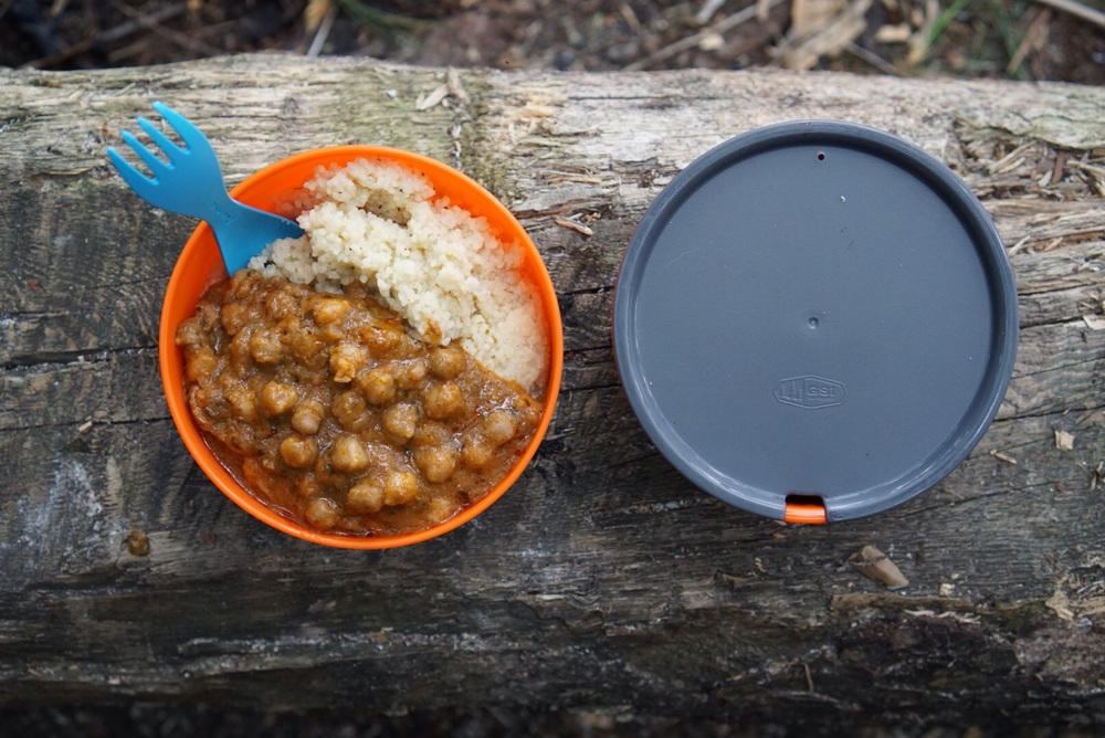 Dinner #1: Chana Masala and Couscous with Red Wine. Wine tetra packs are amazing for enjoying this luxury (ahem.. necessity :)in the backcountry.