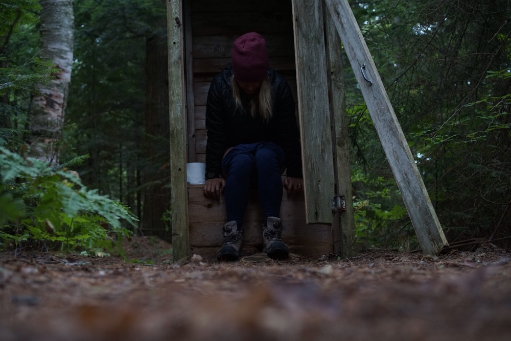 Backcountry pooping is a serious topic. More on this another time, but for now... me keeping it regular in a backcountry outhouse. First night was a Thunderbox and second night an Outhouse... we were spoiled! Still brought along the trusty trowel just in case.