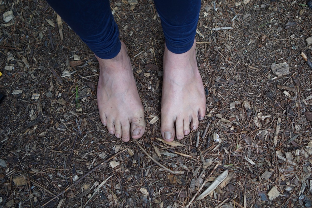 I spent most of the time at our campsites in bare feet. The ground was so warm and soft, relatively untouched by urban grime. The bottoms of my feet are dirty with speckled sap spots and I was good with it.