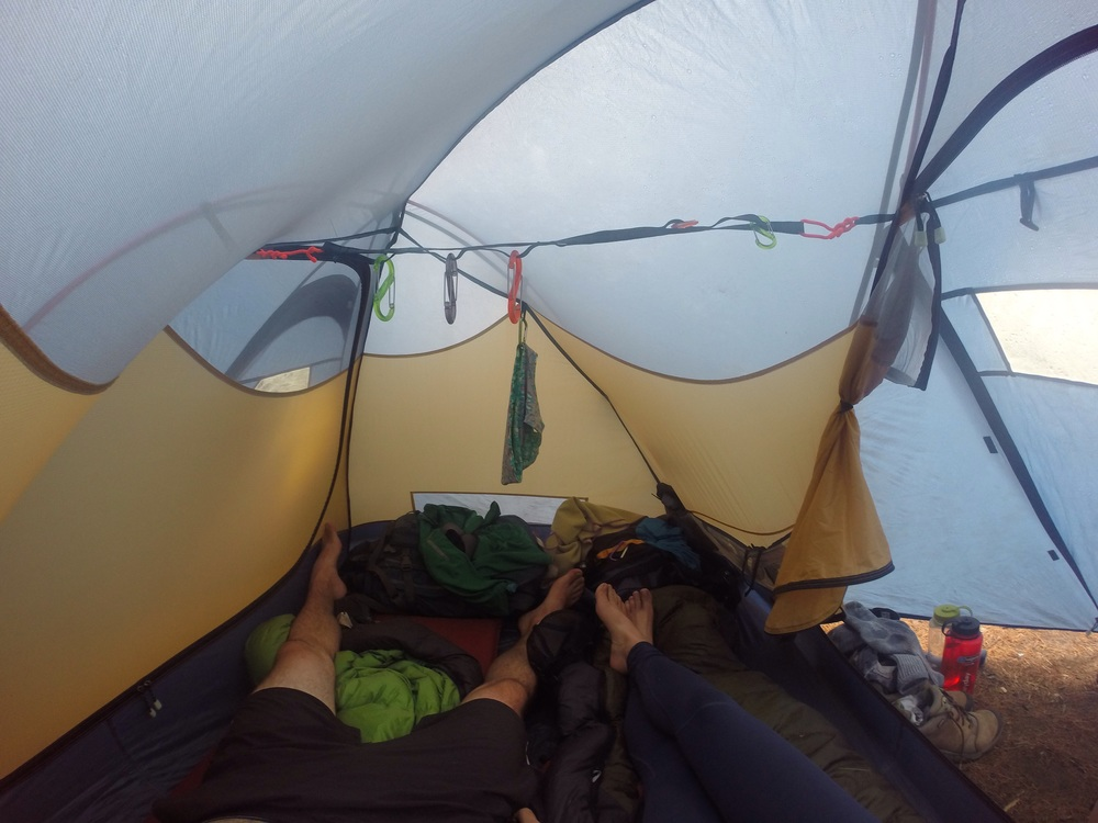 View from the inside of my trusty old (12+years) 2-person backpacking tent.