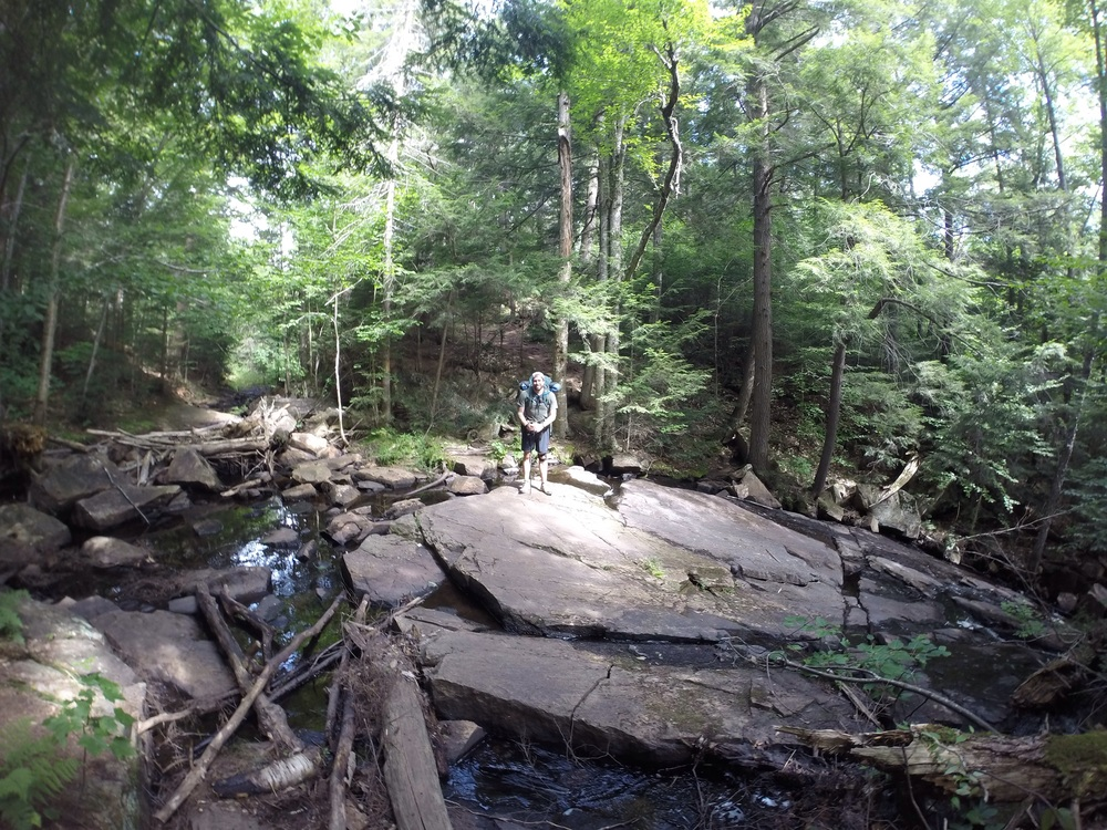 Trail takes you right over this beauty rock surface and stream.