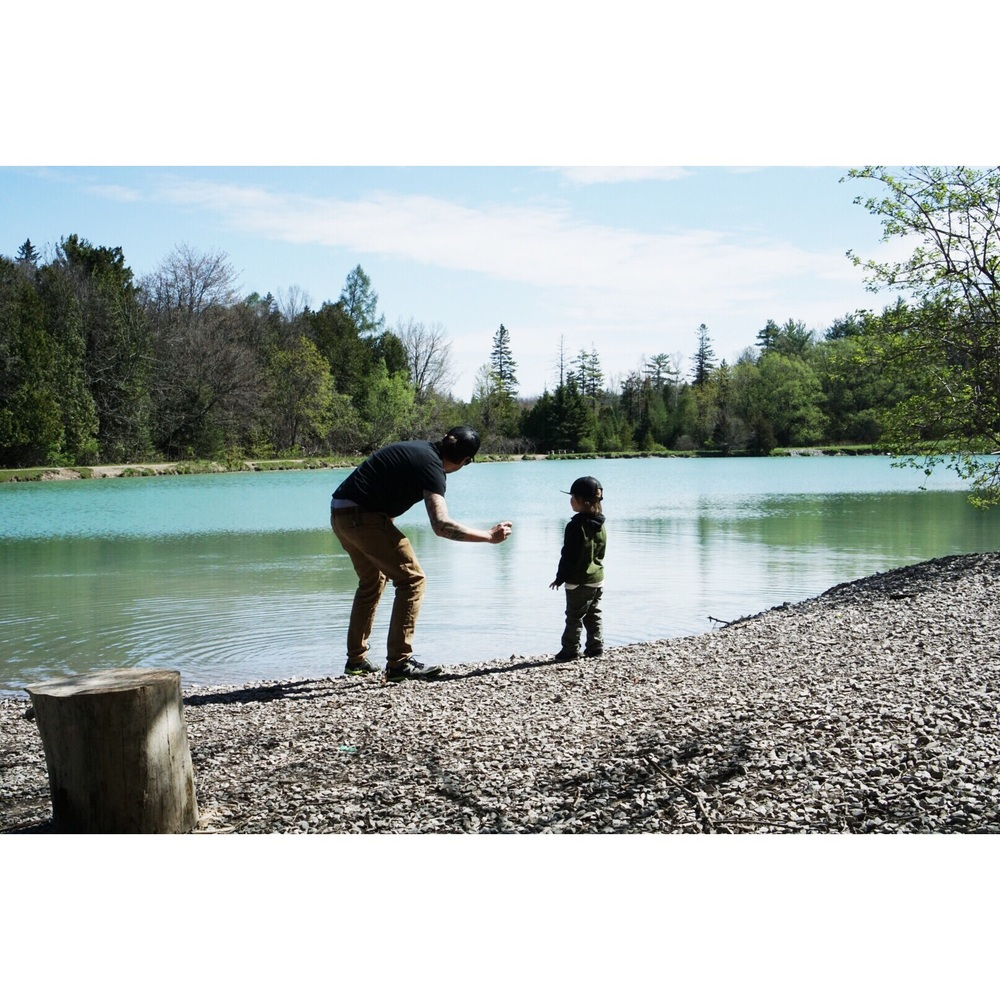 Rock skipping lessons with dad.