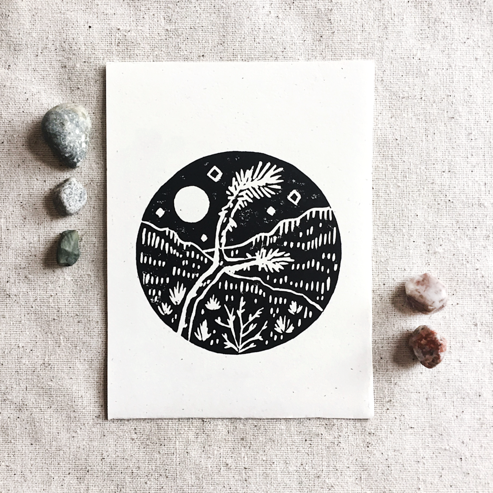 Block printed logo for The Moon Cabin Joshua Tree.