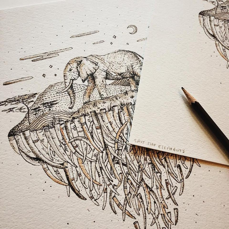 Elephant print with microns and watercolor. Proceeds donated to the organization Save The Elephants.