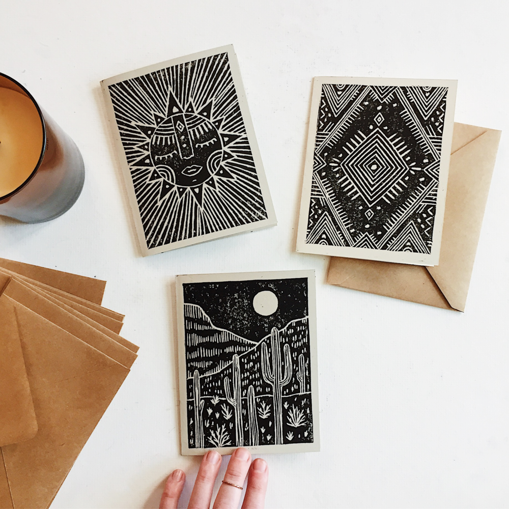 Greeting card block prints. Available in the shop and for wholesale.