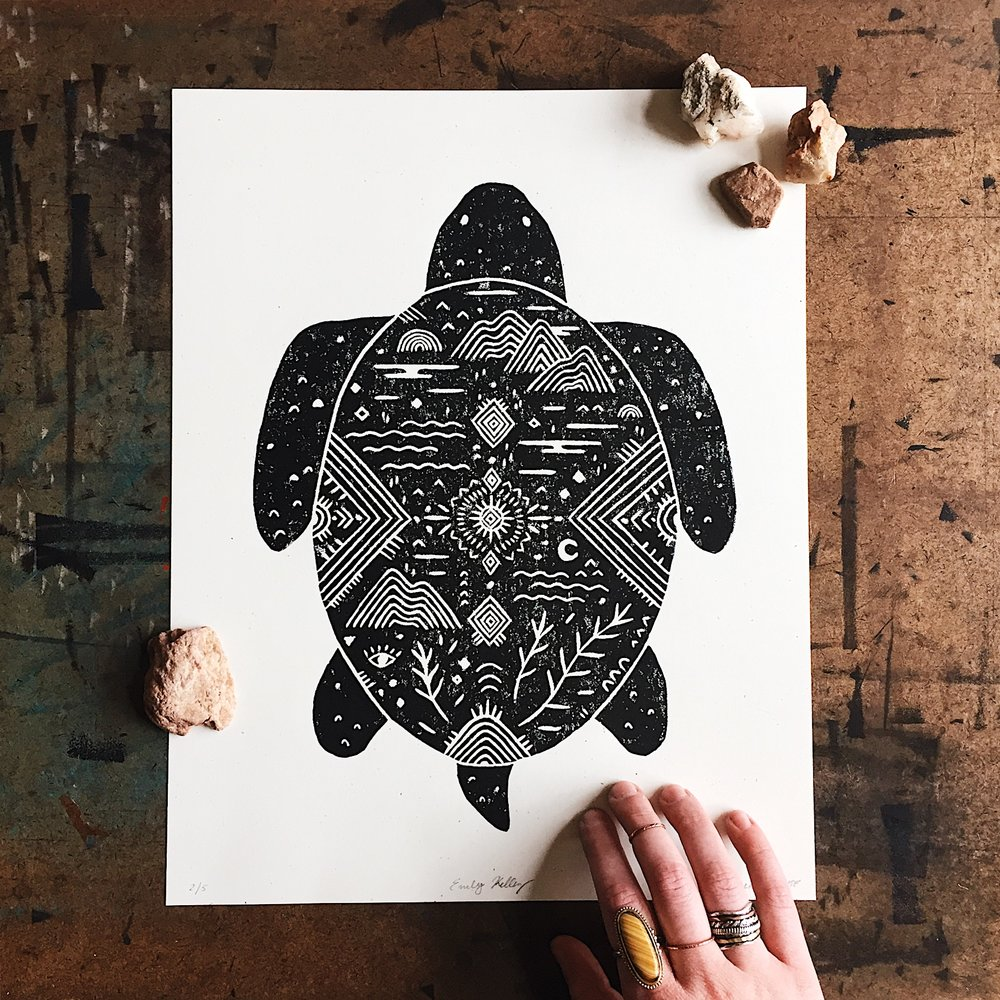 Turtle block print. Available in the shop and for wholesale.