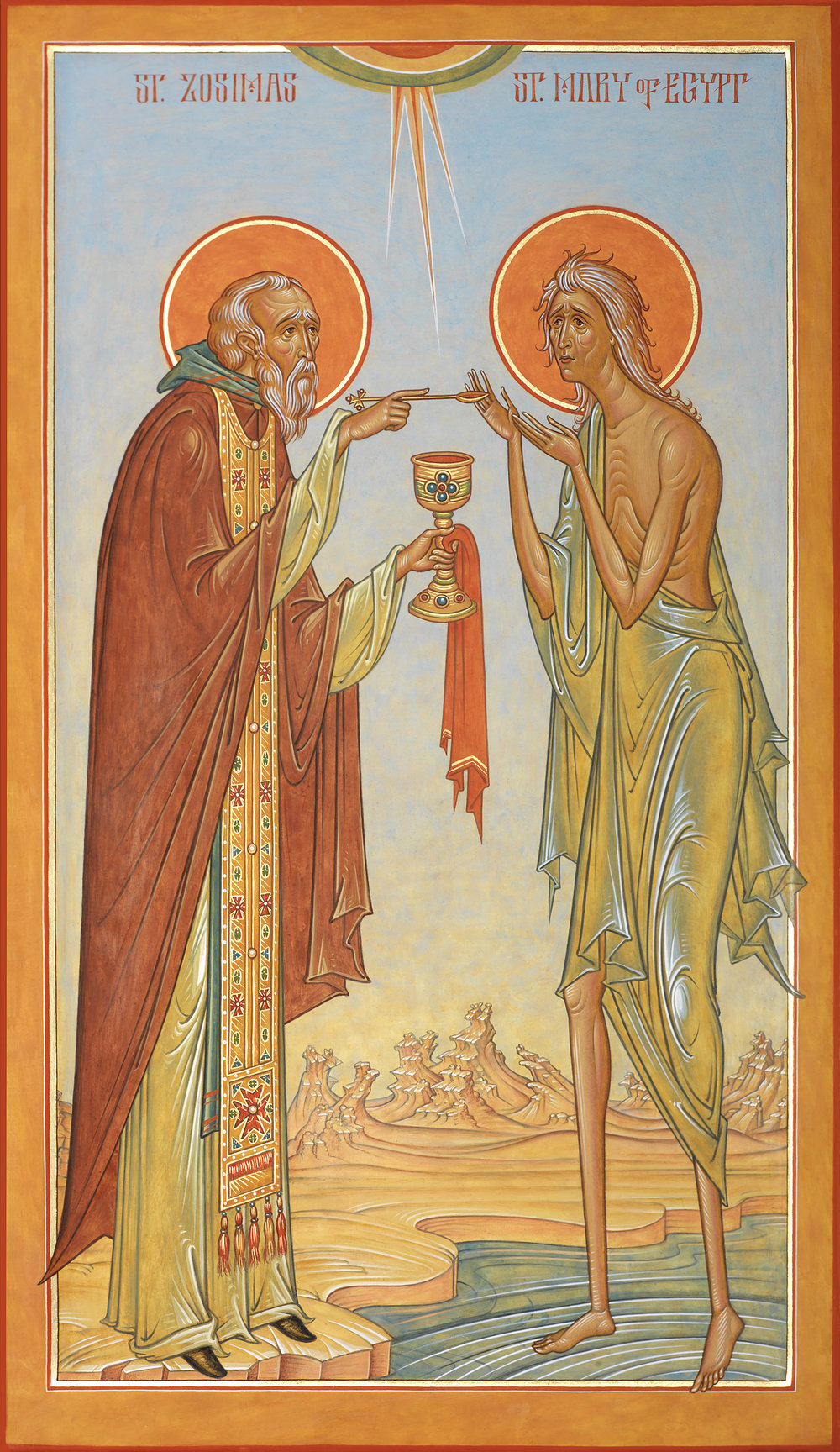 Icon by Fr. Silouan Justiniano  https://www.orthodoxartsjournal.org/a-new-icon-of-st-mary-of-egypt-and-st-zosimas-notes-on-form-symbolism/