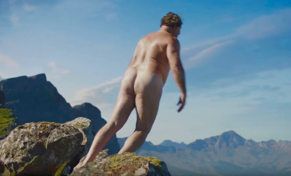 Verwarde Hornbach-man springt van berg.