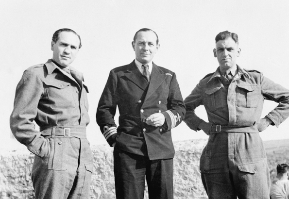 Sidney Bernstein (left) the Producer of  German Concentration Camps Factual Survey , on a visit to North Africa in 1943. © IWM HU 38069.