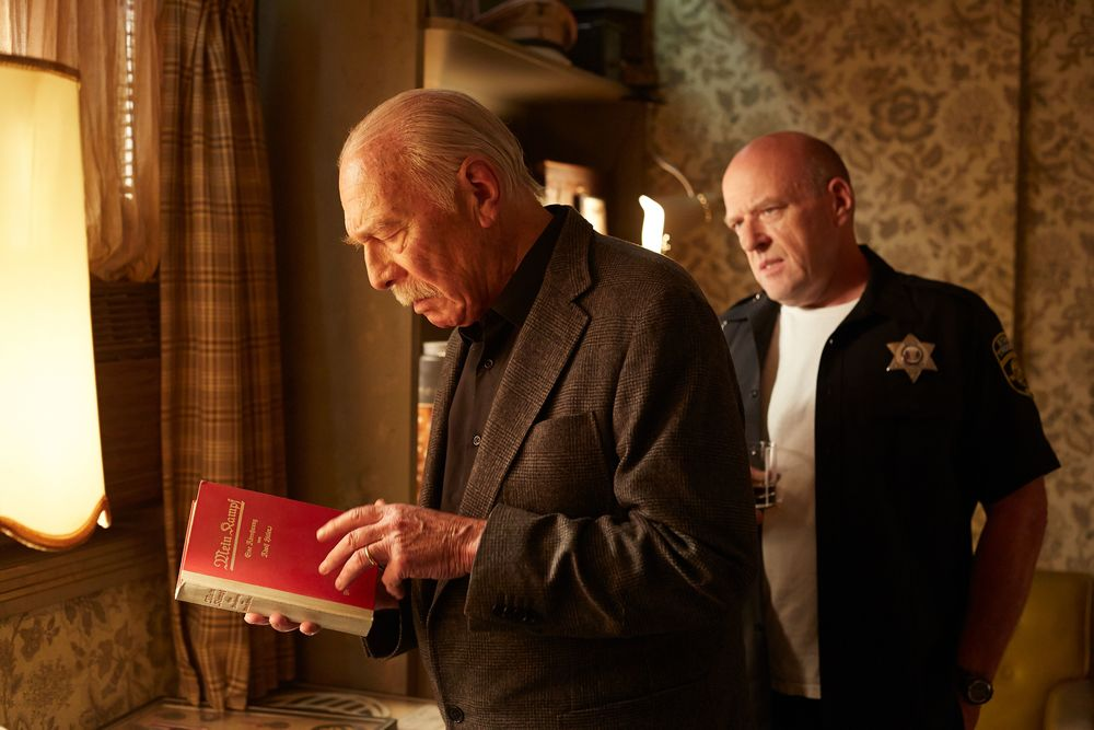 In dark Idaho, Zev (Christopher Plummer with Dean Norris, right) encounters a trove of Nazi memorabilia.    (Remember)