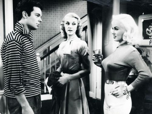 New kid Tony Baker (Russ Tamblyn), his teacher Arlene Williams (Jan Sterling), and his sexpot aunt, Gwen (Mamie Van Doren)