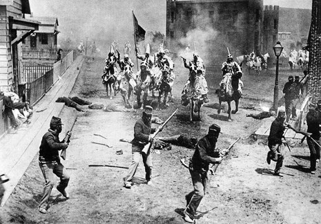 Griffith's battlefield scenes were masterfully edited and coordinated, bringing together many of the techniques he tried while making his shorter films