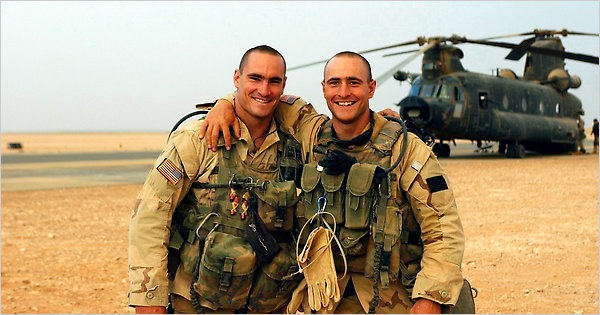 As an NFL star, Pat Tillman (left) was the most celebrated post 9/11 enlistee