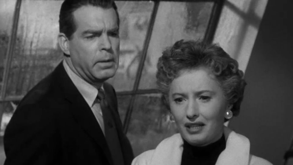 Fred MacMurray and Barbara Stanwyck as Cliff Groves and Norma Vale