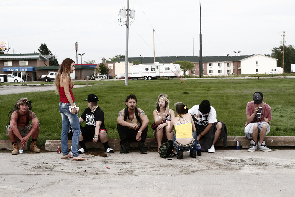 Pit stop: (from l. to r.) McCaul Lombardi, Riley Keough, Verronikah Ezell, Shia LaBeouf, Crystal B. Ice, Shawna Rae Moseley, Kenneth Kory Tucker, Raymond Coalson