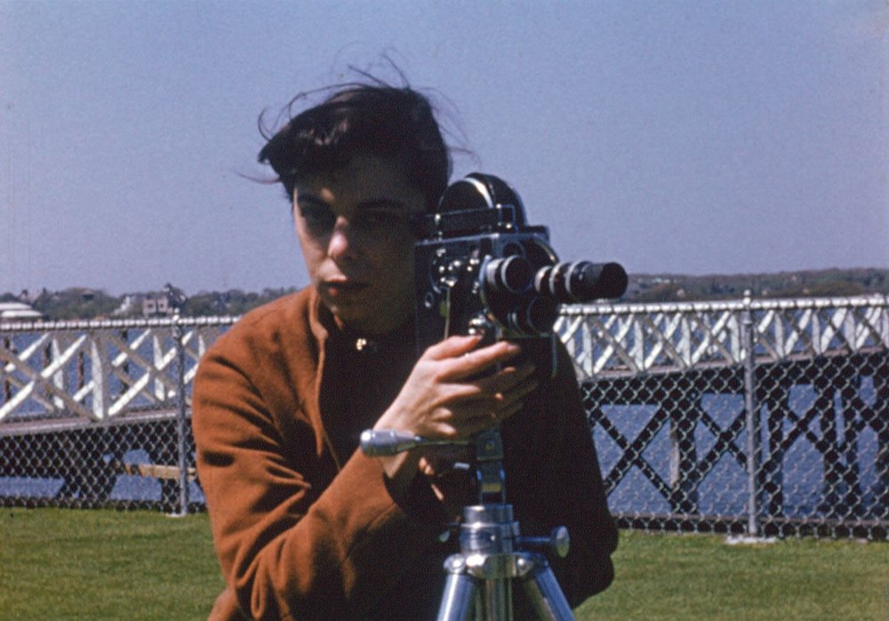 Shirley Clarke with a camera in 1944.