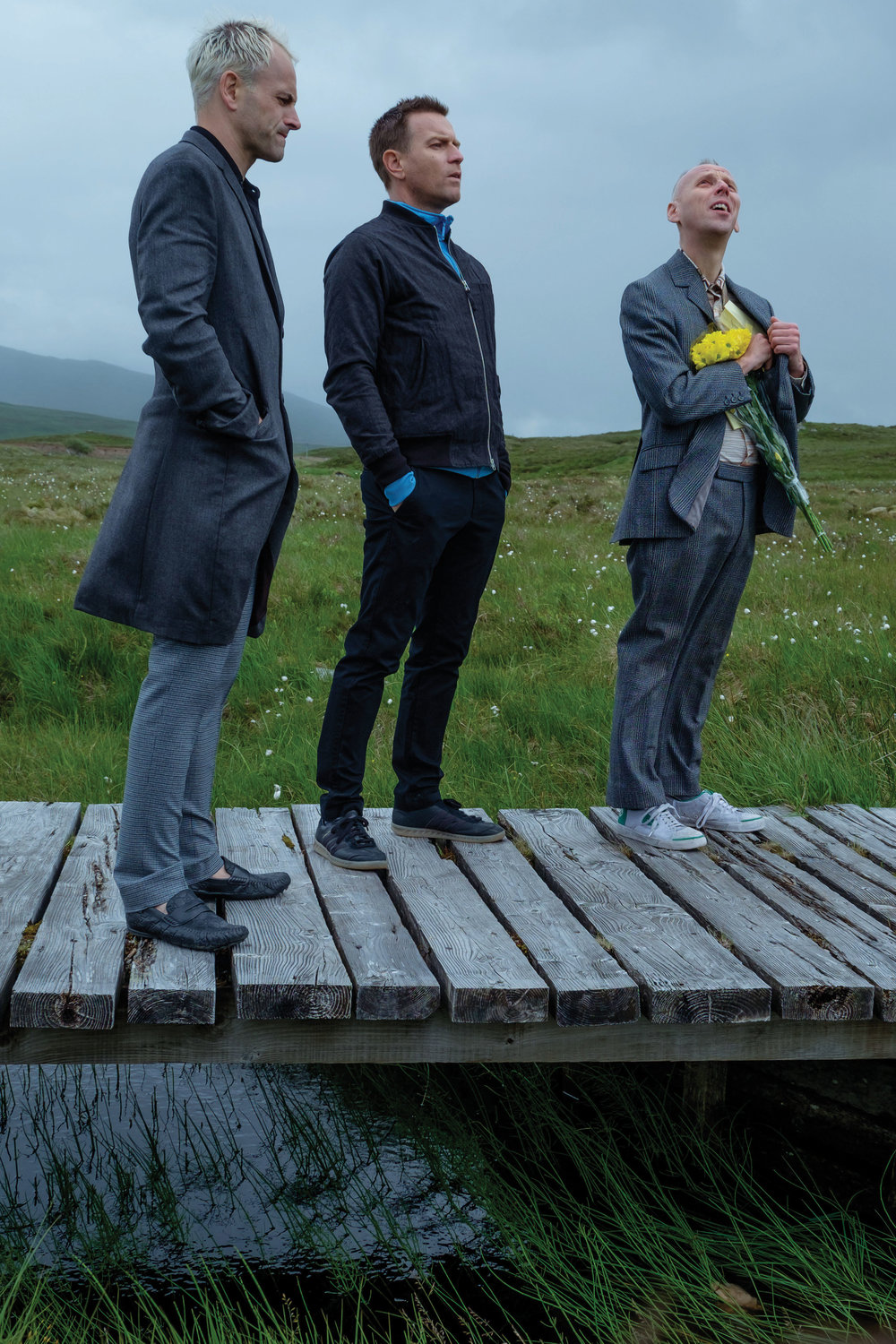 Reunited after 20 years: Jonny Lee Miller as Sick Boy, Ewan McGregor as Mark Renton, and Ewen Bremner as Spud.